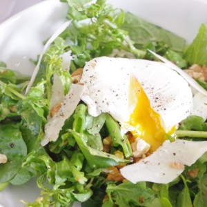 watercress salad with poached egg