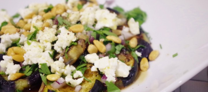 Grilled Eggplant Carpaccio with feta and pine nuts